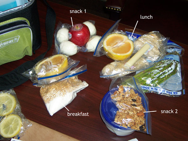 Chelle's clean eating cooler contents for Thursday March 31, 2011