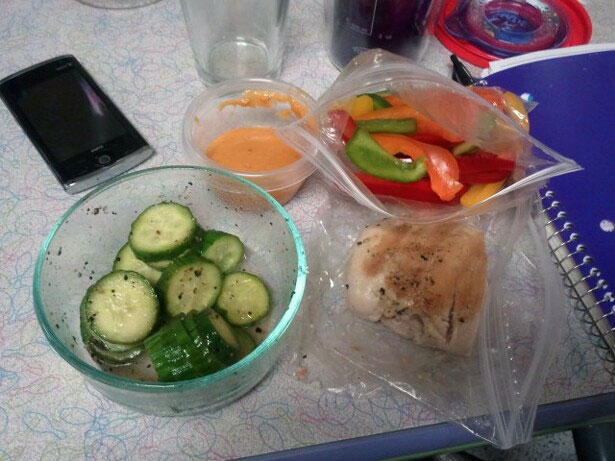 dinner at the bowling alley - 5 oz grilled chicken breast, 2 cups sliced peppers, 1 mini cucumber