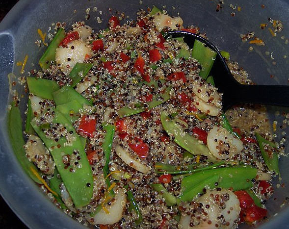 Asian Style Quinoa Salad made with Red, Black and White Quinoa