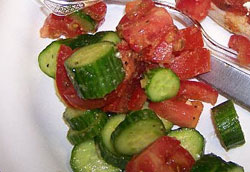 Chelle's clean recipe for tomato and cucumber salad!